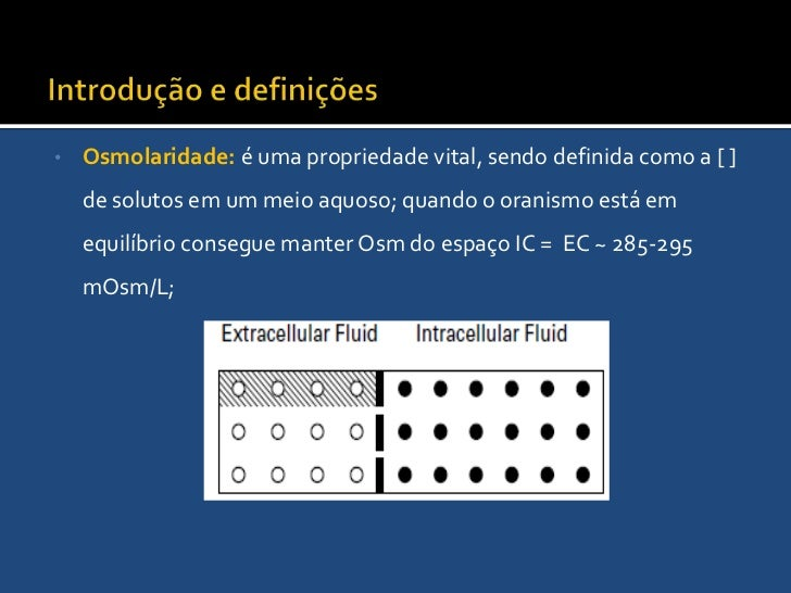 Introdução e definições<br /><ul><li>Osmolaridade: é uma propriedade vital, sendo definida como a [ ] de solutos em um mei...