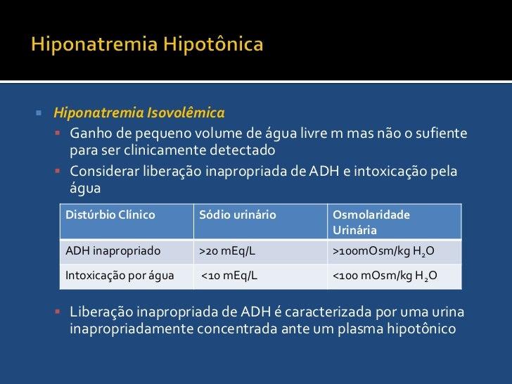 Hiponatremia Hipotônica<br />Hiponatremia Hipovolêmica<br /> caracterizada por perdas líquidas combinadas com reposição de...