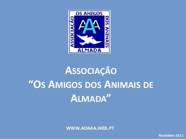 """WWW.AOAAA.WEB.PT ASSOCIAÇÃO """"OS AMIGOS DOS ANIMAIS DE ALMADA"""" NOVEMBRO 2011"""
