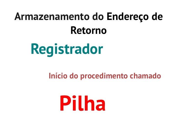 Armazenamento do Endereço de         Retorno   Registrador      Início do procedimento chamado        Pilha