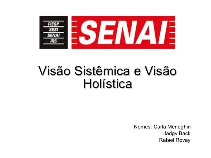 Visão Sistêmica e Visão Holística Nomes: Carla Meneghin Jadgy Back Rafael Rovay