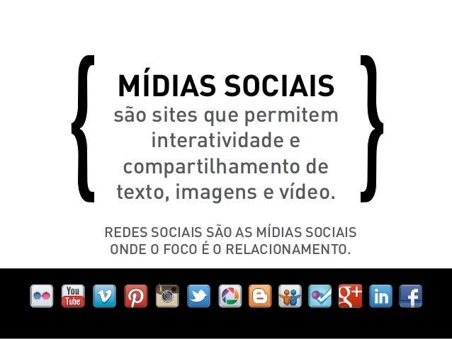 Mídias sociais são sites que permitem     interatividade e  compartilhamento de texto, imagens e vídeo.Redes Sociais são a...