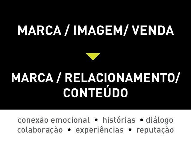 Marca / imagem/ vendaMarca / relacionamento/       conteúdoconexão emocional • histórias • diálogocolaboração • experiênci...