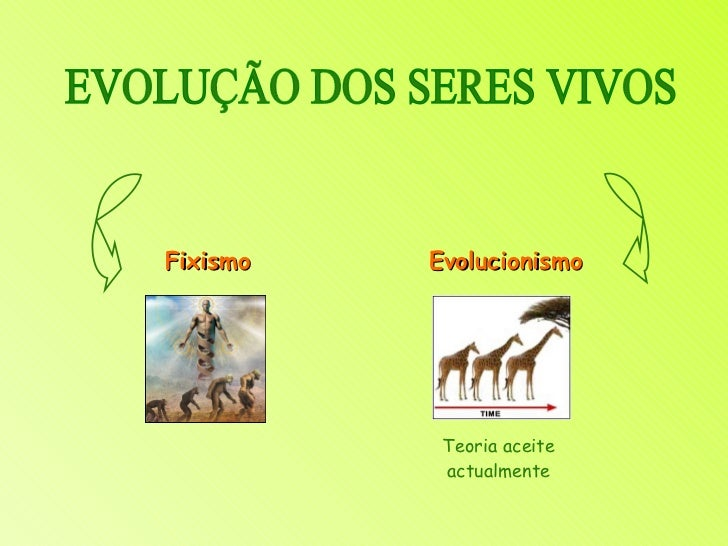 EVOLUÇÃO DOS SERES VIVOS Fixismo Evolucionismo Teoria aceite actualmente