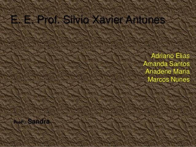 Adriano Elias Amanda Santos Ariadene Maria Marcos Nunes E. E. Prof. Silvio Xavier Antunes Profª.: Sandra