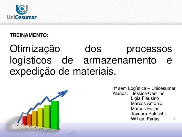 1  TREINAMENTO:  Otimização dos processos  logísticos de armazenamento e  expedição de materiais.  4º sem Logística – Unic...