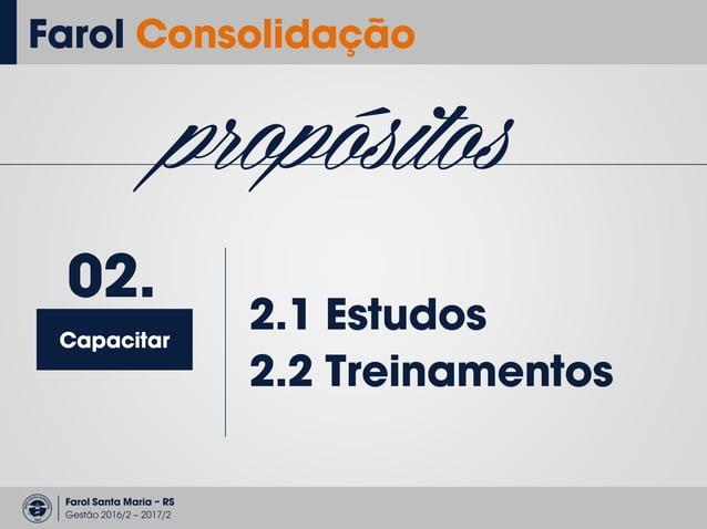 Farol Santa Maria – RS Gestão 2016/2 – 2017/2 Farol Consolidação propósitos Capacitar 02. • Abordagem temática • Aplicação...