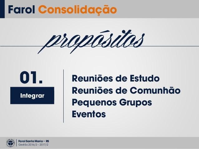 Farol Santa Maria – RS Gestão 2016/2 – 2017/2 Farol Consolidação propósitos Integrar 01. Reuniões de Estudo Reuniões de Co...