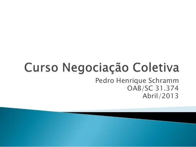 Pedro Henrique Schramm OAB/SC 31.374 Abril/2013