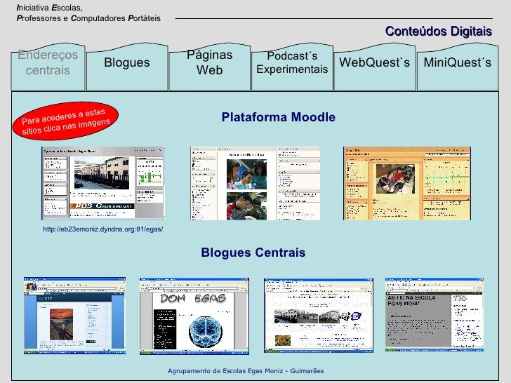 Endereços centrais Blogues Páginas Web Podcast´s Experimentais WebQuest`s MiniQuest´s Blogues Centrais Plataforma Moodle I...