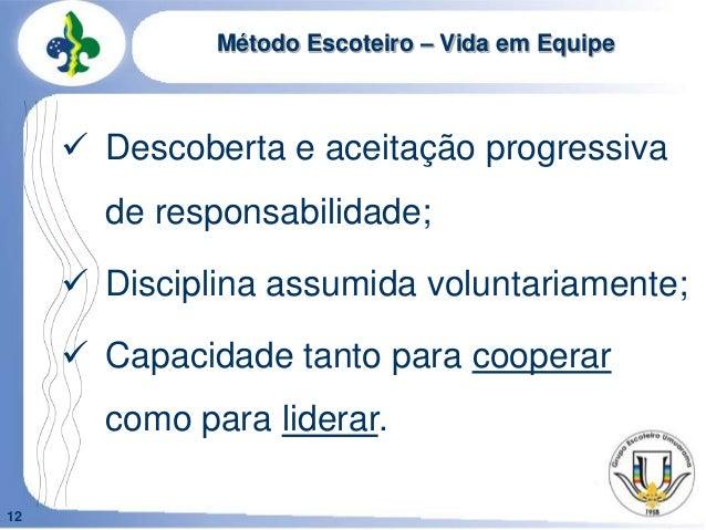 12Método Escoteiro – Vida em Equipe Descoberta e aceitação progressivade responsabilidade; Disciplina assumida voluntari...