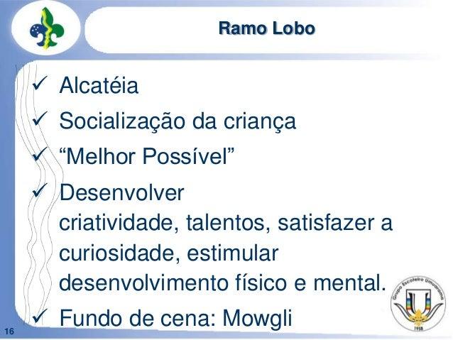 """16Ramo Lobo Alcatéia Socialização da criança """"Melhor Possível"""" Desenvolvercriatividade, talentos, satisfazer acuriosid..."""