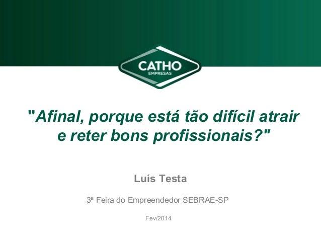 """""""Afinal, porque está tão difícil atrair e reter bons profissionais?"""" 3ª Feira do Empreendedor SEBRAE-SP Fev/2014 Luís Testa"""