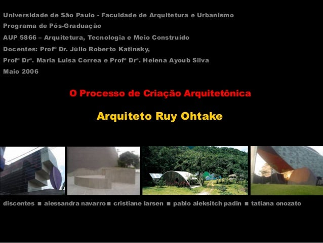 O Processo de Criação Arquitetônica Arquiteto Ruy Ohtake Universidade de São Paulo - Faculdade de Arquitetura e Urbanismo ...