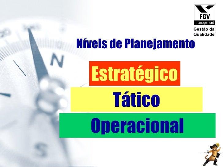 Níveis de Planejamento Estratégico Tático Operacional Gestão da Qualidade