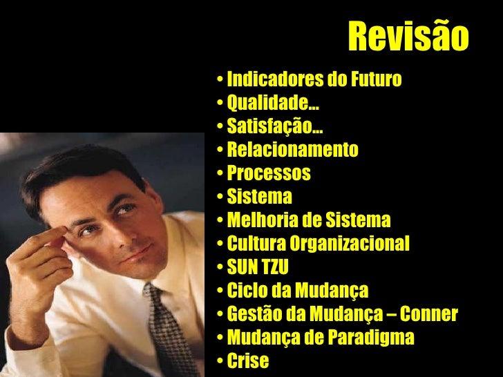 Revisão <ul><li>Indicadores do Futuro </li></ul><ul><li>Qualidade... </li></ul><ul><li>Satisfação... </li></ul><ul><li>Rel...