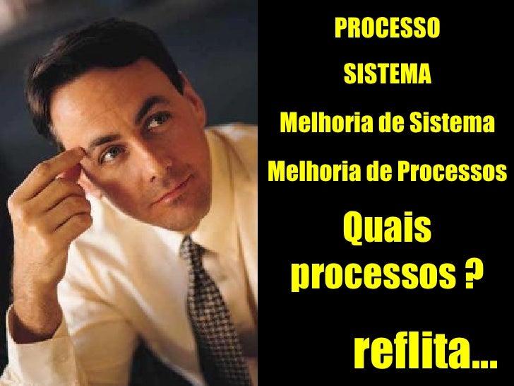 reflita... PROCESSO SISTEMA Melhoria de Sistema Quais processos ? Melhoria de Processos