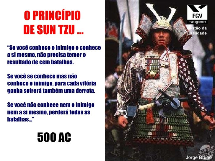 """O PRINCÍPIO  DE SUN TZU ... """" Se você conhece o inimigo e conhece a si mesmo, não precisa temer o resultado de cem batalha..."""