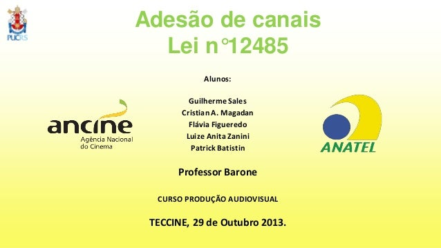 Adesão de canais Lei n°12485 Alunos: Guilherme Sales Cristian A. Magadan Flávia Figueredo Luize Anita Zanini Patrick Batis...