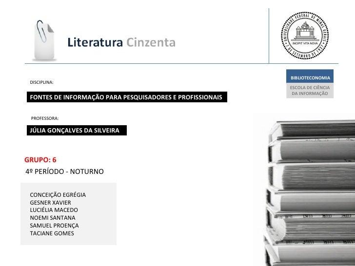 JÚLIA GONÇALVES DA SILVEIRA ESCOLA DE CIÊNCIA  DA INFORMAÇÃO BIBLIOTECONOMIA FONTES DE INFORMAÇÃO PARA PESQUISADORES E PRO...