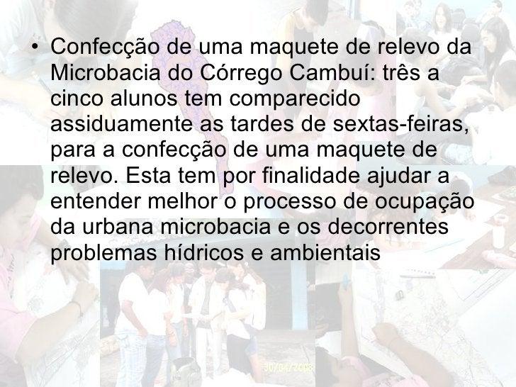 <ul><li>Confecção de uma maquete de relevo da Microbacia do Córrego Cambuí: três a cinco alunos tem comparecido assiduamen...