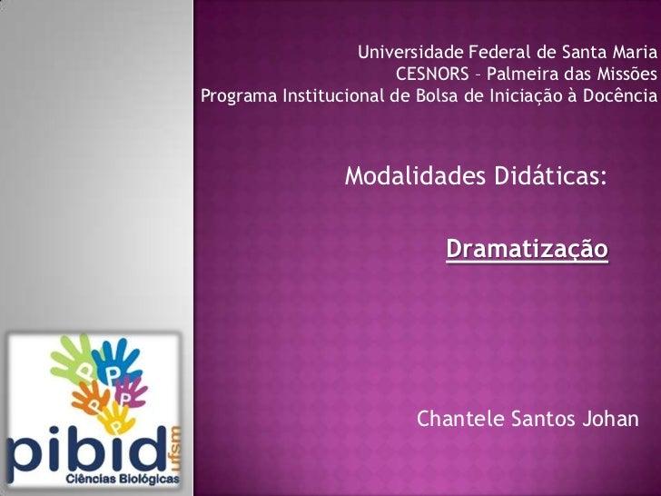 Universidade Federal de Santa Maria                        CESNORS – Palmeira das MissõesPrograma Institucional de Bolsa d...