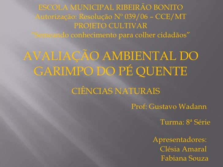 """ESCOLA MUNICIPAL RIBEIRÃO BONITO Autorização: Resolução Nº 039/06 – CCE/MT PROJETO CULTIVAR """" Semeando conhecimento para c..."""