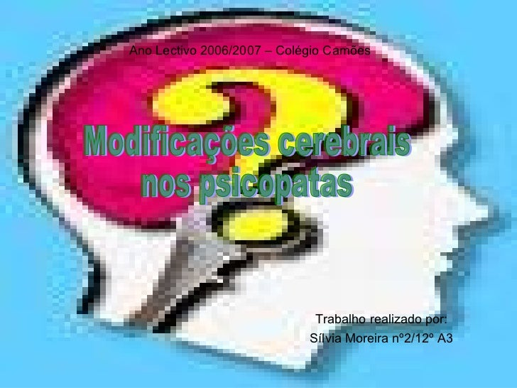 Trabalho realizado por: Sílvia Moreira nº2/12º A3 Ano Lectivo 2006/2007 – Colégio Camões Modificações cerebrais  nos psico...
