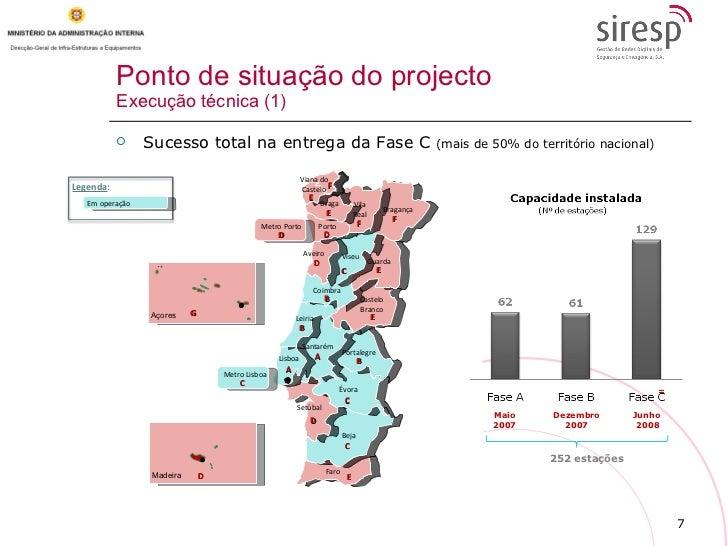 Ponto de situação do projecto Execução técnica (1) Açores Madeira Metro Porto Legenda : C D D D D D G Em operação Maio 200...