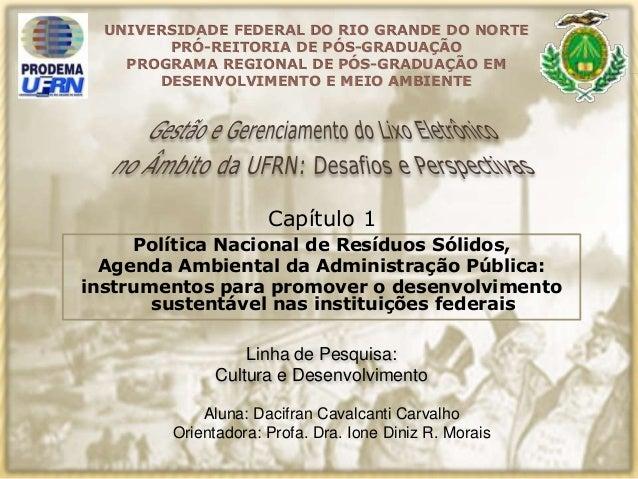 Capítulo 1 Aluna: Dacifran Cavalcanti Carvalho Orientadora: Profa. Dra. Ione Diniz R. Morais UNIVERSIDADE FEDERAL DO RIO G...