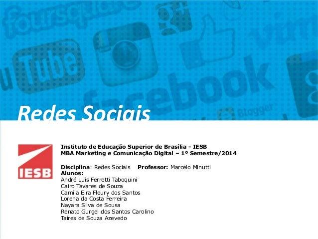 Instituto de Educação Superior de Brasília - IESB MBA Marketing e Comunicação Digital – 1º Semestre/2014 Disciplina: Redes...