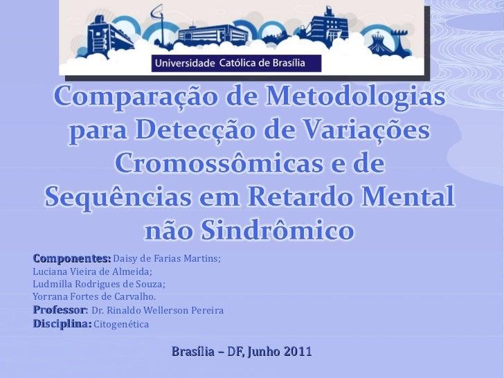 Componentes:   Daisy de Farias Martins; Luciana Vieira de Almeida; Ludmilla Rodrigues de Souza; Yorrana Fortes de Carvalho...