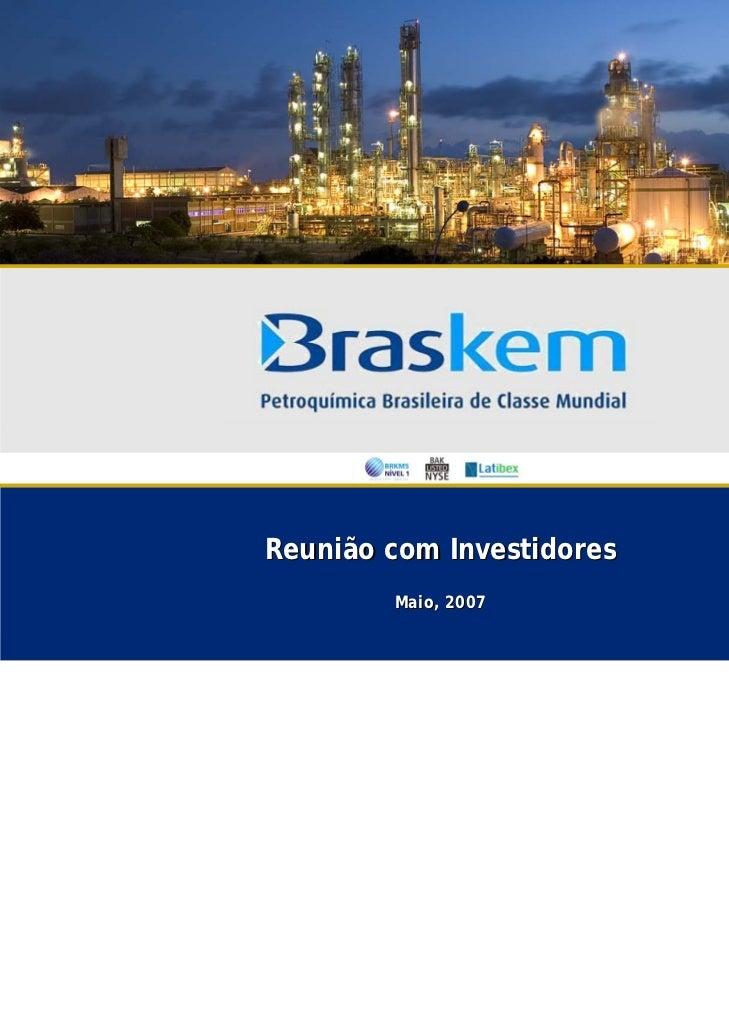 Reunião com Investidores        Maio, 2007