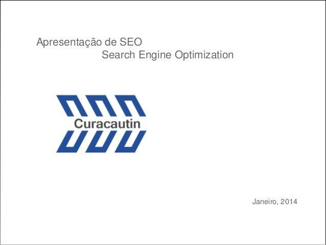 Apresentação de SEO Search Engine Optimization  Janeiro, 2014