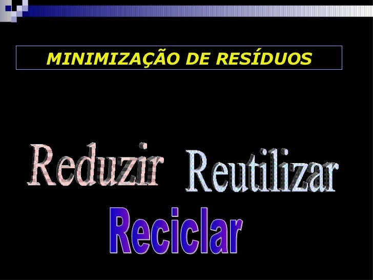 MINIMIZAÇÃO DE RESÍDUOS Reduzir Reutilizar Reciclar