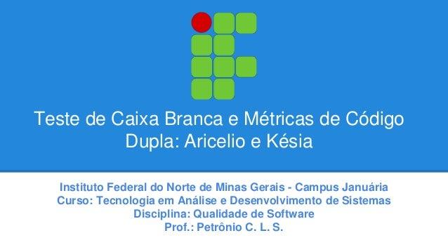 Teste de Caixa Branca e Métricas de Código  Dupla: Aricelio e Késia  Instituto Federal do Norte de Minas Gerais - Campus J...