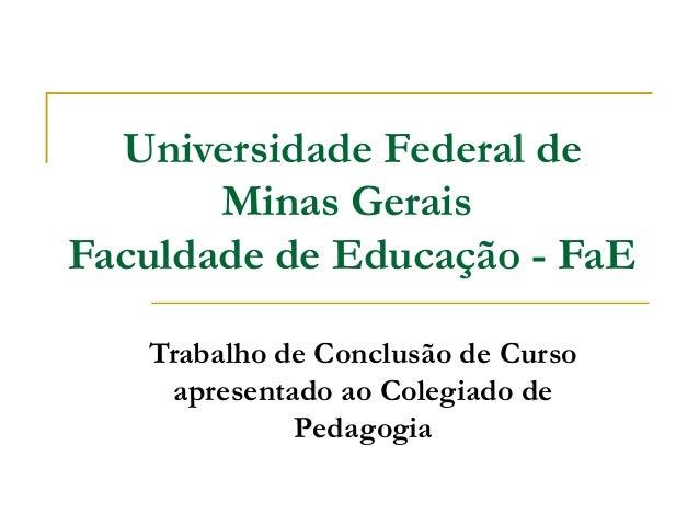 Universidade Federal de Minas Gerais Faculdade de Educação - FaE Trabalho de Conclusão de Curso apresentado ao Colegiado d...