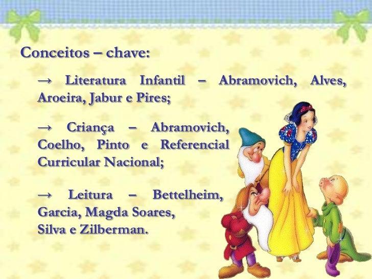 Conceitos – chave: <br />-> Literatura Infantil – Abramovich, Alves, Aroeira, Jabur e Pires; <br />-> Criança – Abramovich...