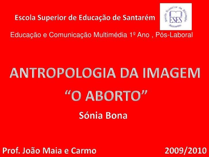 Escola Superior de Educação de Santarém<br />Educação e Comunicação Multimédia 1º Ano , Pós-Laboral<br />ANTROPOLOGIA DA I...