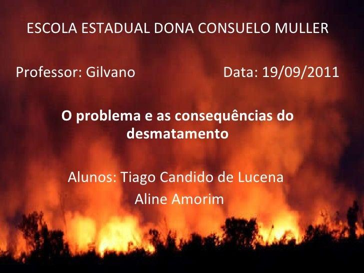ESCOLA ESTADUAL DONA CONSUELO MULLER Professor: Gilvano  Data: 19/09/2011 O problema e as consequências do desmatamento Al...