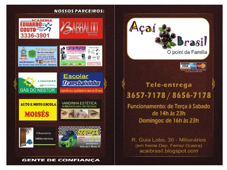 Cardápio Açaí Brasil