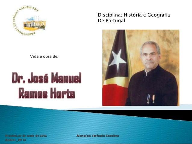 Disciplina: História e Geografia                                              De Portugal               Vida e obra de:Pom...