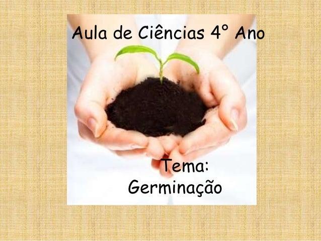 Aula de Ciências 4° Ano         Tema:      Germinação