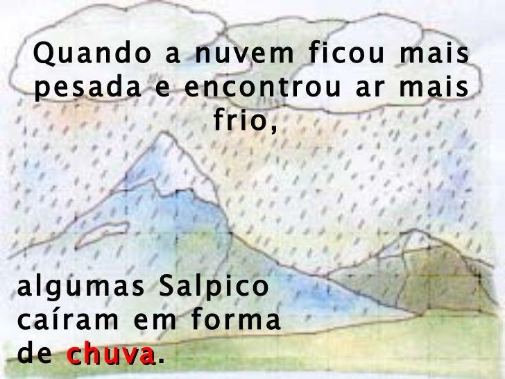 Quando a nuvem ficou mais pesada e encontrou ar mais frio,  algumas Salpico caíram em forma de  chuva .