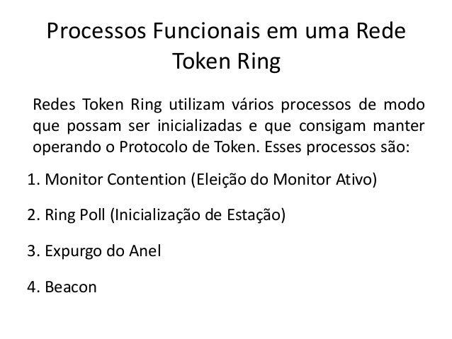 Processos Funcionais em uma Rede              Token RingRedes Token Ring utilizam vários processos de modoque possam ser i...