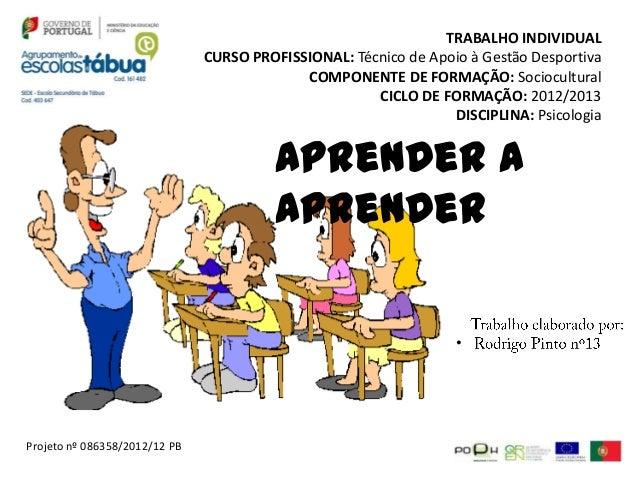 TRABALHO INDIVIDUAL                               CURSO PROFISSIONAL: Técnico de Apoio à Gestão Desportiva                ...