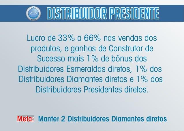 Lucro de 33% a 66% nas vendas dos produtos, e ganhos de Construtor de Sucesso mais 1% de bônus dos Distribuidores Esmerald...