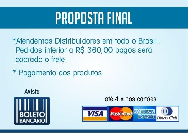 PROPOSTA FINAL Avista *Atendemos Distribuidores em todo o Brasil. Pedidos inferior a R$ 360,00 pagos será cobrado o frete....