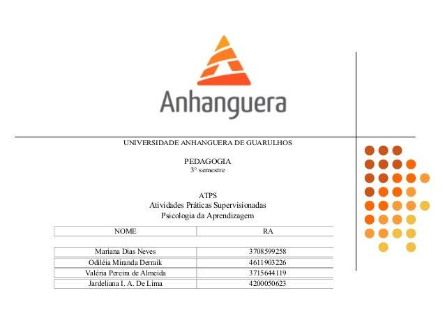 UNIVERSIDADE ANHANGUERA DE GUARULHOSPEDAGOGIA3° semestreNOME RAJardeliana I. A. De Lima 4200050623Mariana Dias Neves 37085...