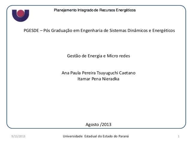 Planejamento Integrado de Recursos EnergéticosPlanejamento Integrado de Recursos Energéticos Universidade Estadual do Esta...